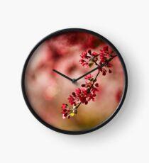 Burgundy blossoms  Clock