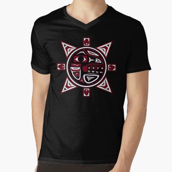 Northwest Indian Raven Sun V-Neck T-Shirt