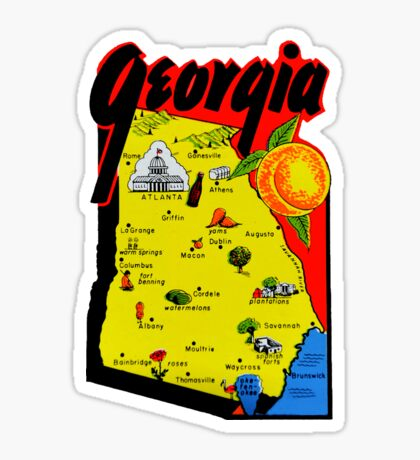Georgia State Map Vintage Travel Decal Sticker
