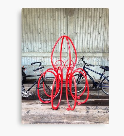 Octopus Bicycle Friend Canvas Print
