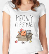 Meowy Christmas Cat Holiday Pun Women's Fitted Scoop T-Shirt