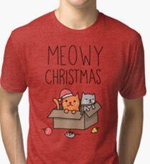 Meowy Christmas Cat Holiday Pun Tri-blend T-Shirt