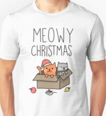 Meowy Christmas Cat Holiday Pun Unisex T-Shirt