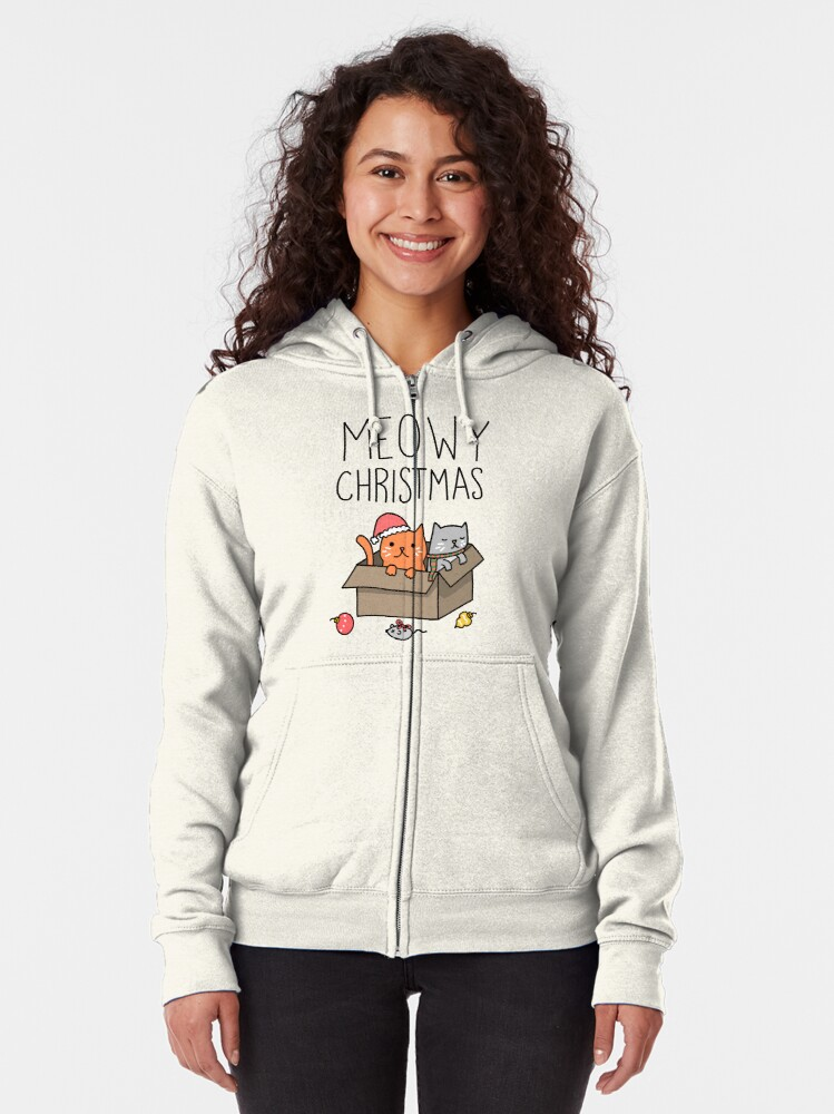 Alternate view of Meowy Christmas Cat Holiday Pun Zipped Hoodie