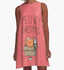 Meowy Christmas Cat Holiday Pun A-Line Dress