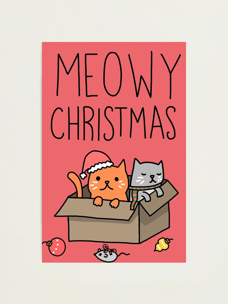 Alternate view of Meowy Christmas Cat Holiday Pun Photographic Print
