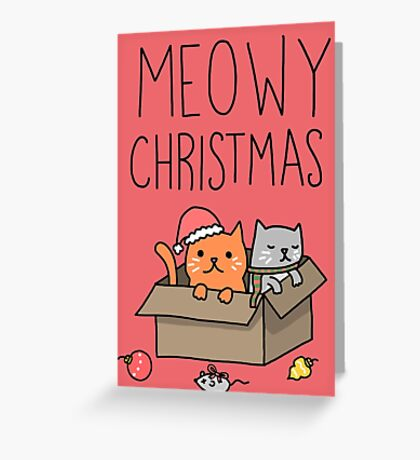 Meowy Christmas Cat Holiday Pun Greeting Card