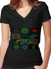 Twelve Fractal Images with Borders (Limited Palette)  Women's Fitted V-Neck T-Shirt