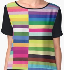Compelling Colorful Striped Pattern Chiffon Top