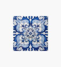Antique Azulejo Tile Floral Pattern Art Board