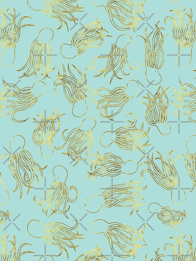 Gold Squids on Seafoam by beththompsonart