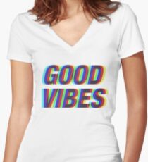 Good Vibes Techicolor Women's Fitted V-Neck T-Shirt