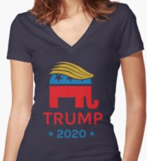 Donald Trump 2020 Elephant Women's Fitted V-Neck T-Shirt