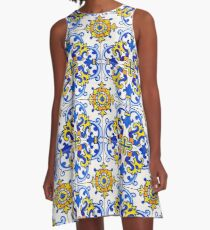 Vintage Azulejos Tile A-Line Dress