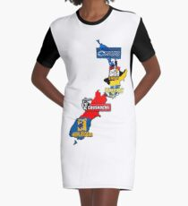Super Rugby regions New Zealand Graphic T-Shirt Dress