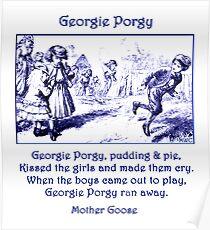 Georgie Porgy Mother Goose Illustrated Nursery Rhyme Poster