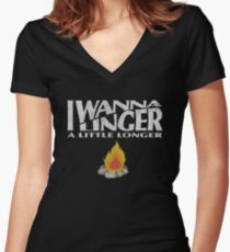I Wanna Linger Women's Fitted V-Neck T-Shirt