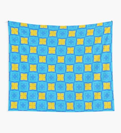 Yellow Blue DeepDream Pattern Wall Tapestry