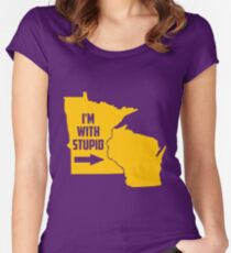 Minnesota I'm With Stupid Women's Fitted Scoop T-Shirt