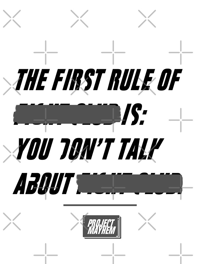 """Fight Club, """"The first rule is"""" by coolkidstrider"""