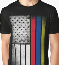Colombian American Flag - Half Colombian Half American  Graphic T-Shirt