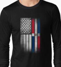 Dominican American Flag - Half Dominican Half American  Long Sleeve T-Shirt