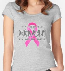 Win the Battle Softball Breast Cancer Support Ribbon Women's Fitted Scoop T-Shirt