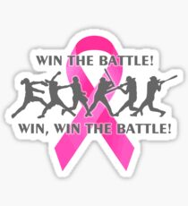 Win the Battle Softball Breast Cancer Support Ribbon Sticker