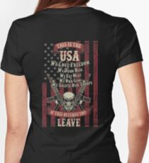 This is the USA We love freedom We own guns Womens Fitted T-Shirt