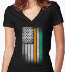 Irish American Flag - Half Irish Half American Women's Fitted V-Neck T-Shirt