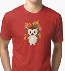 Cute Autumn Hedgehog Tri-blend T-Shirt