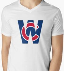 Cubs W Chicago Cubs W with Red/Blue C Mens V-Neck T-Shirt