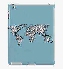 World Map Hand Drawn Pattern Blue iPad Case/Skin