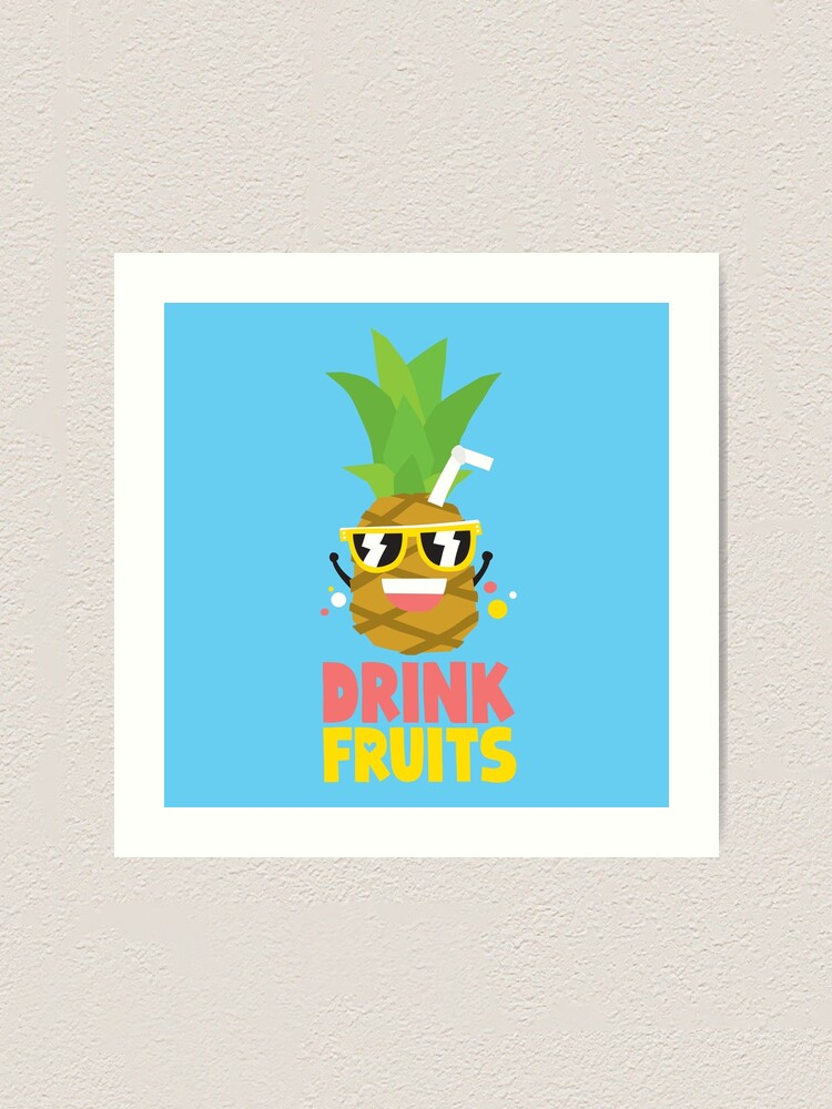 Drink Fruits Kawaii Pineapple Art Print