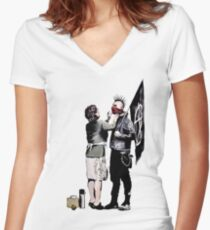 Banksy - Anarchist And Mother Fitted V-Neck T-Shirt