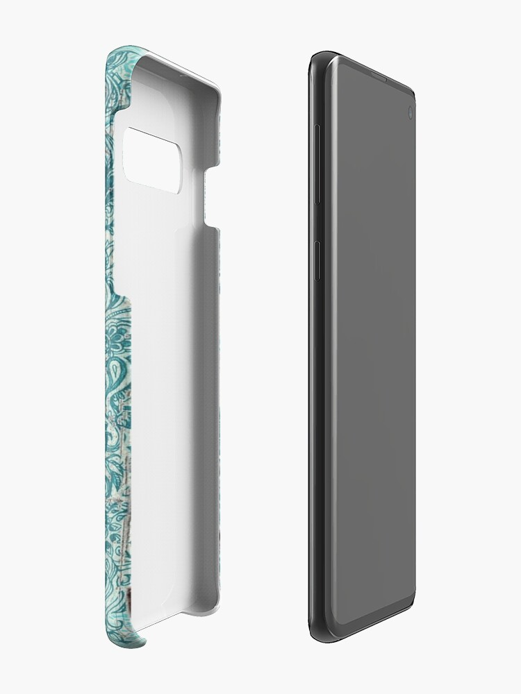 Alternate view of Teal & Aqua Botanical Doodle on Weathered Wood Case & Skin for Samsung Galaxy