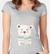 Cute polar bear with scarf Women's Fitted Scoop T-Shirt