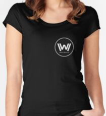 Westworld - Small White Logo Women's Fitted Scoop T-Shirt