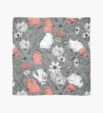 Seamless pattern design with hand drawn flowers and floral elements, gray Scarf