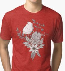 Seamless pattern design with hand drawn flowers and floral elements, white Tri-blend T-Shirt