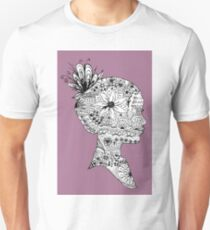 Purple Floral Girl Bust Design Free Hand Drawn T-Shirt