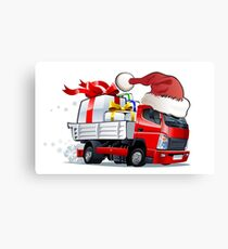 cartoon delivery Christmas truck Canvas Print