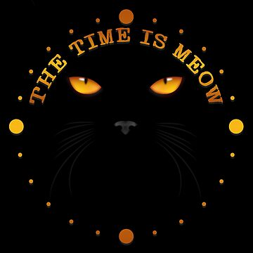 The Time Is Meow Cat Face by bitsnbobs