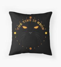 The Time Is Meow Cat Face Throw Pillow