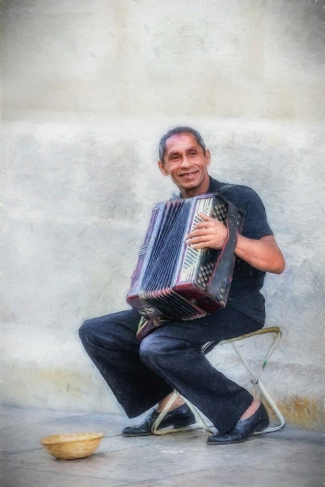 Happy street musician by peter hayward