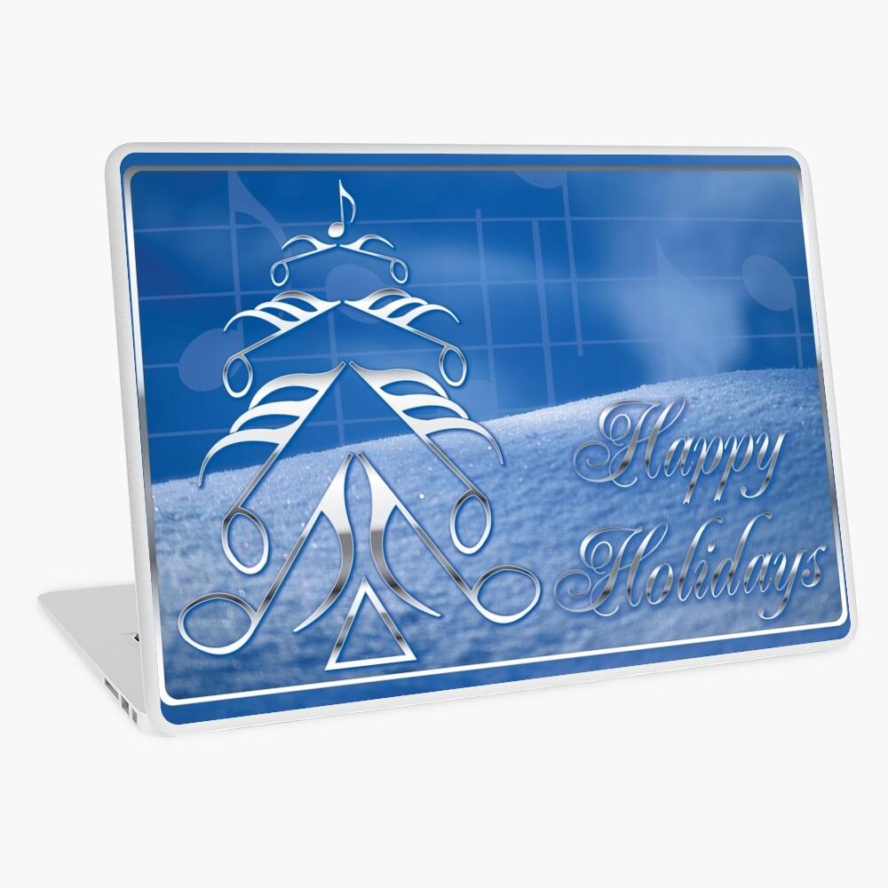 Music Note Metallic Tree, Happy Holidays Laptop Folie