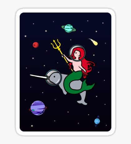 Mermaid Riding Narwhal In Space Sticker