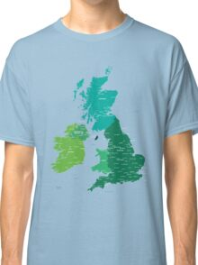Map of Great Britain and Ireland Classic T-Shirt