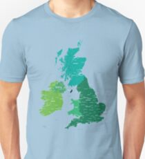 Map of Great Britain and Ireland Unisex T-Shirt