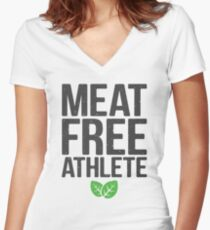 Meat free athlete Women's Fitted V-Neck T-Shirt